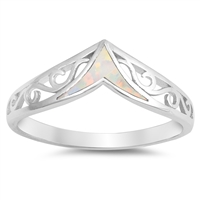 Silver Lab Opal Ring - V Filigree - $6.18