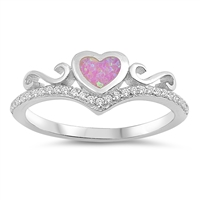 Silver Lab Opal Ring - Heart - $5.17