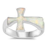 Silver Lab Opal Ring - Cross - $9.51