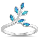 Silver Lab Opal Ring - Leaves - $6.87