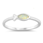 Silver Lab Opal Ring - Religious Fish - $3.67