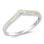 Silver Lab Opal Ring - V Shape - $5.03