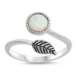 Silver Lab Opal Ring - Leaf - $6.10