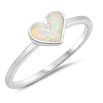 Silver Lab Opal Ring - Heart - $3.16