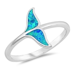 Silver Lab Opal Ring - Whale Tail - $4.00