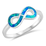 Silver Lab Opal Ring - Infinity Sign - $4.73