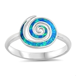 Silver Lab Opal Ring - Spiral - $3.88