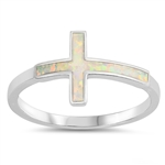 Silver Lab Opal Ring - Cross - $3.80