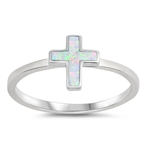Silver Lab Opal Ring - Cross - $3.15