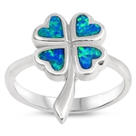 Silver Lab Opal Ring - Clover - $6.75