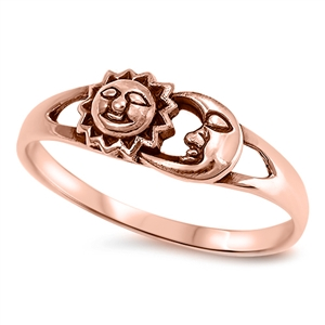 Silver Ring - Sun and Moon - $4.39