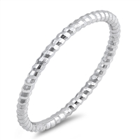 Silver Ring - Thin Diamond Cut Band - $2.47
