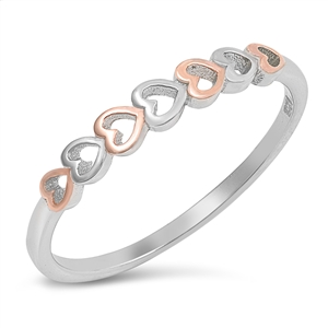 Silver Ring - Sideways Hearts - $2.89