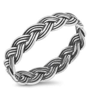 Silver Ring - Braided Rope - $2.64