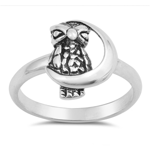 Silver Ring - Moon and Owl - $4.04