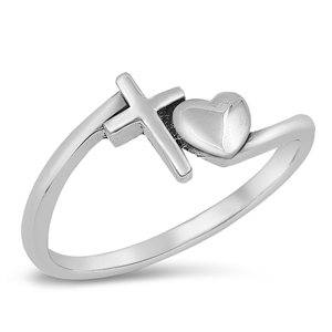Silver Ring - Heart and Cross - $3.67