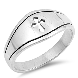 Silver CZ Ring - Medieval Cross - $4.85