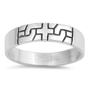Silver CZ Ring - Cross Puzzle - $4.79