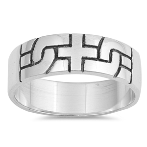 Silver CZ Ring - Cross Puzzle - $5.66