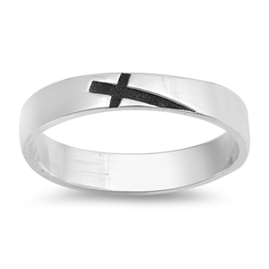 Silver Ring - Sideways Cross Band - $3.77