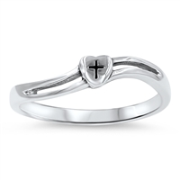 Silver Ring - Heart Cross - $3.24