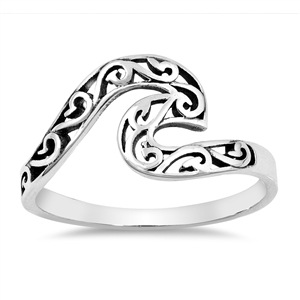 Silver Ring - Filigree Wave - $3.49