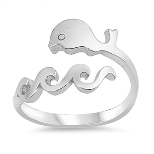 Silver Ring - Whale and Wave - $4.33