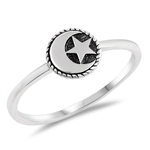 Silver Ring - Moon and Star - $2.38