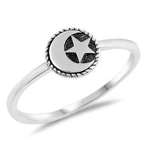 Silver Ring - Moon and Star - $2.25