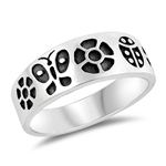 Silver Ring - Flowers and Butterflies - $5.44