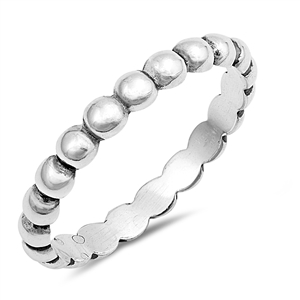Silver Ring - Beaded Band - $2.83