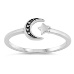 Silver Ring - Crescent Moon and Star - $2.33