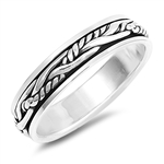 Silver Spinner Ring - Rope - $7.28