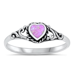 Silver Ring W/ Lab Opal - Heart - $4.09