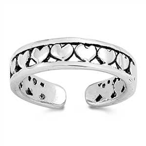 Silver Toe Ring - Hearts