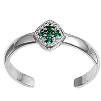 Silver Toe Ring w/ CZ - Cross