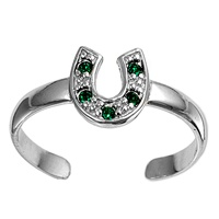 Silver Toe Ring w/ CZ - Horse Shoe