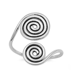 Silver Toe Ring - Spirals