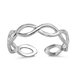 Silver Toe Ring - Braided Band