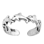 Silver Toe Ring - Dolphins