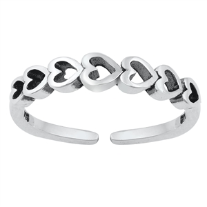 Silver Toe Ring - Sideways Hearts