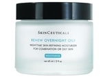 SkinCeuticals Renew Overnight Oily is ideal for combination or oily skin, this nighttime skin-refining moisturizer diminishes the appearance of fine lines and wrinkles by hydrating and exfoliating the skin.