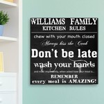 Personalized Family Kitchen Rules Theme Canvas Sign Board