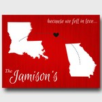 Personalized Because We Fell In Love Red Canvas