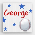 Customized Baseball Graphic Accented Canvas Sign for Kids