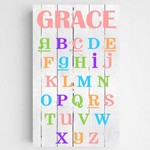 Personalized Colorful ABC Alphabet Accented Girls Canvas Sign
