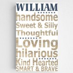 Personalized Boy Definition Accented Canvas Sign