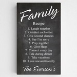 Customized Family Recipe Canvas Sign in Chalkboard Background