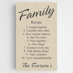 Personalized Chic Linen Family Recipe Canvas Sign
