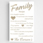 Customized Family Recipe Accented Canvas Sign in Chic White